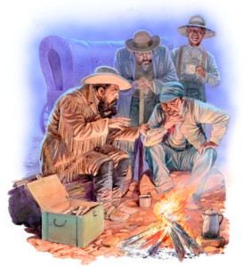Illustration of paleontologist and Yale professor Othniel Marsh discussing fossil discovery with men around camp fire as Matthew Randall stands in background